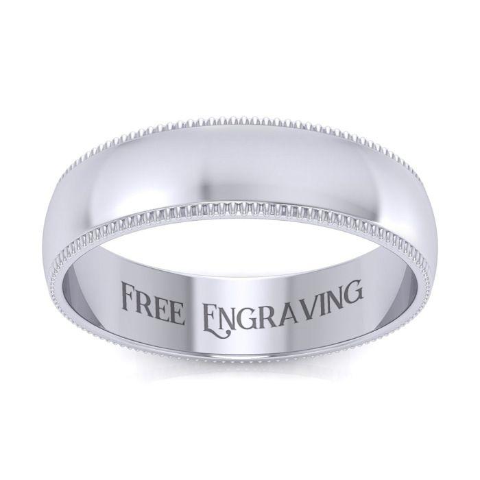 Platinum 5MM Milgrain Ladies & Mens Wedding Band, Size 6.5, Free Engraving by SuperJeweler