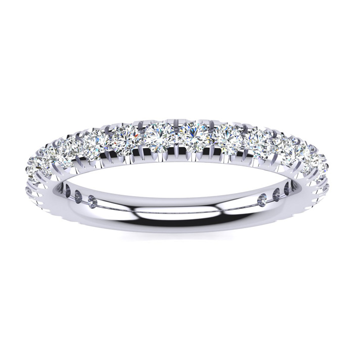 .90 Carat Round Diamond Wedding Band in 14k White Gold, G/H by SuperJeweler