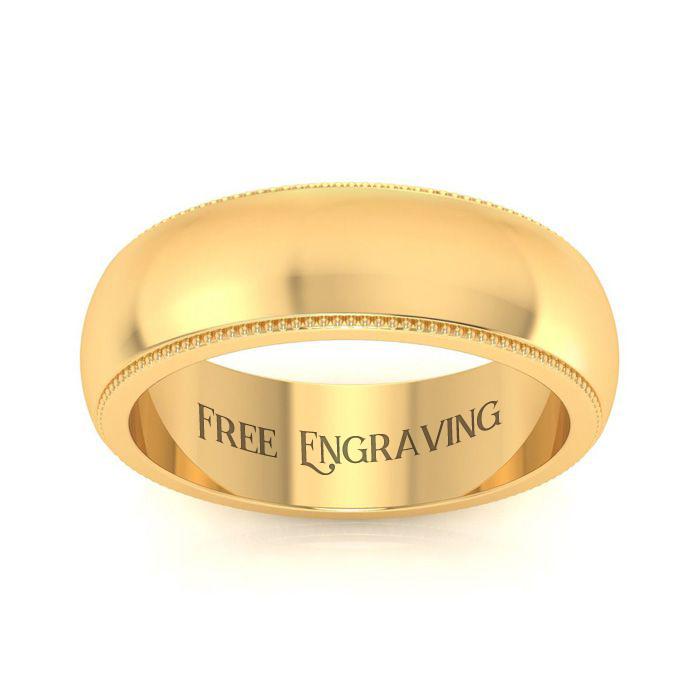10K Yellow Gold 6MM Milgrain Ladies and Mens Wedding Band, Size 5.5, Free Engraving