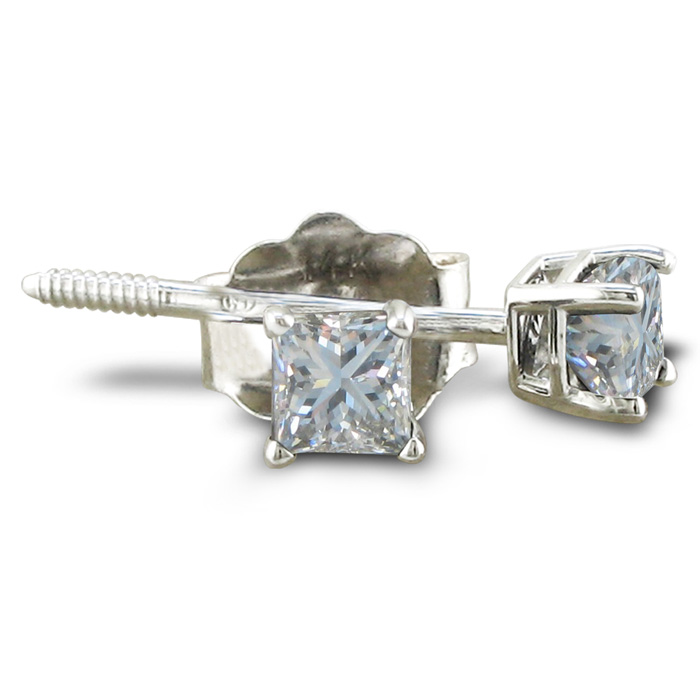 1/3 Carat Princess Cut Diamond Stud Earrings in 14k White Gold, H