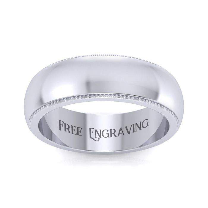 14K White Gold 6MM Milgrain Ladies and Mens Wedding Band, Size 6.5, Free Eng..
