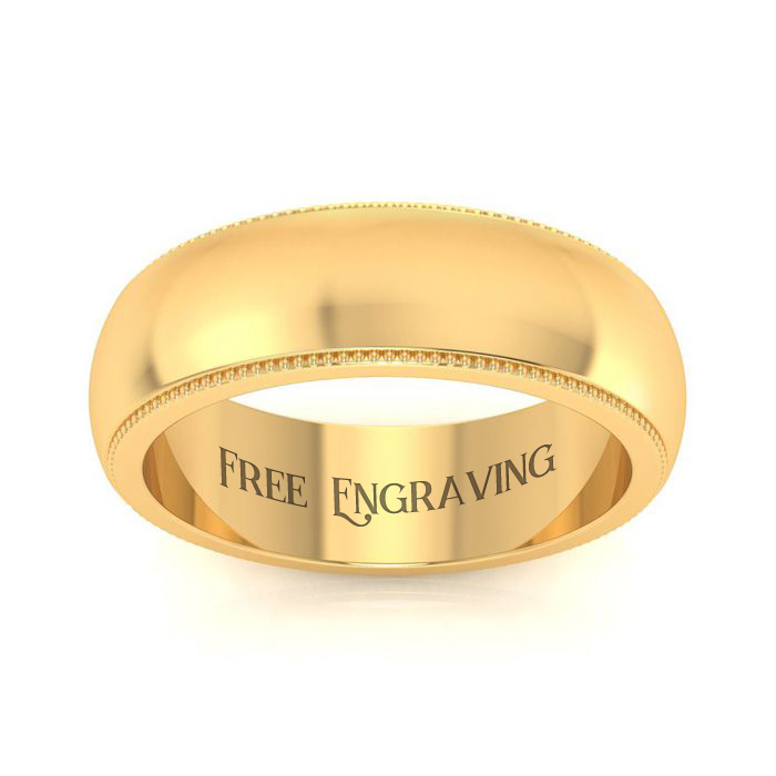14K Yellow Gold 6MM Milgrain Ladies and Mens Wedding Band, Size 7, Free Engr..