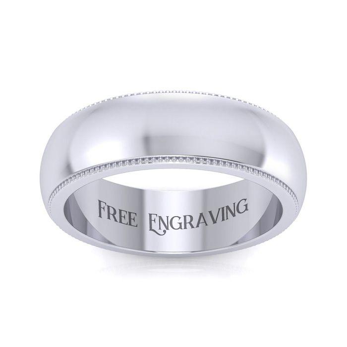 Platinum 6MM Milgrain Ladies & Mens Wedding Band, Size 10, Free E