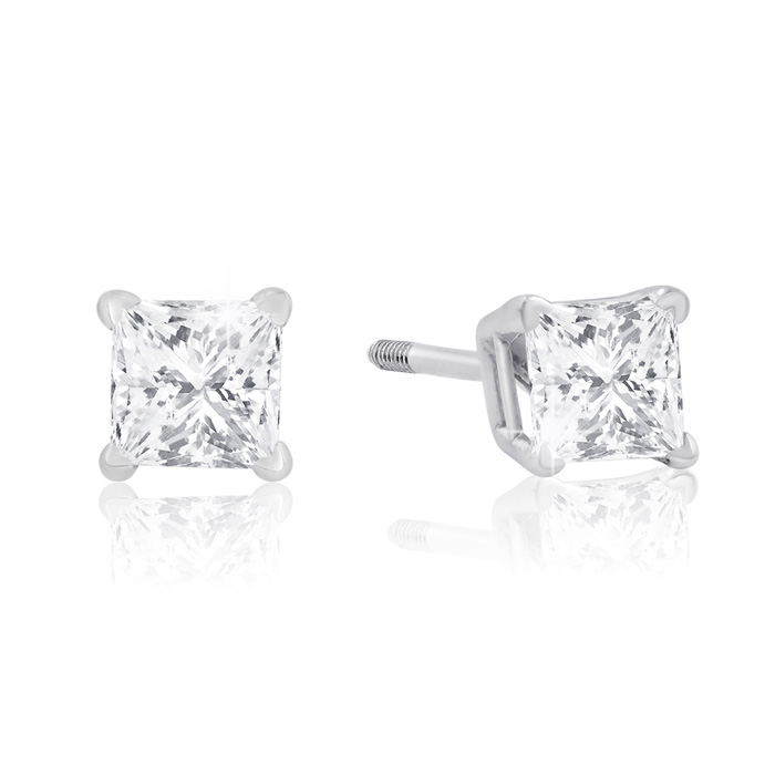 1/2 Carat Princess Cut Diamond Stud Earrings in 14k White Gold, I