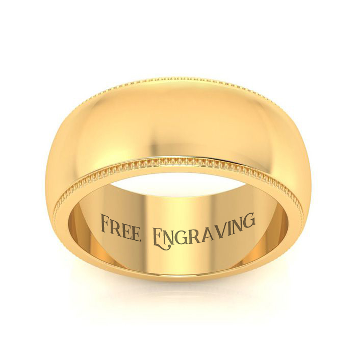 14K Yellow Gold 8MM Milgrain Ladies and Mens Wedding Band, Size 9, Free Engr..