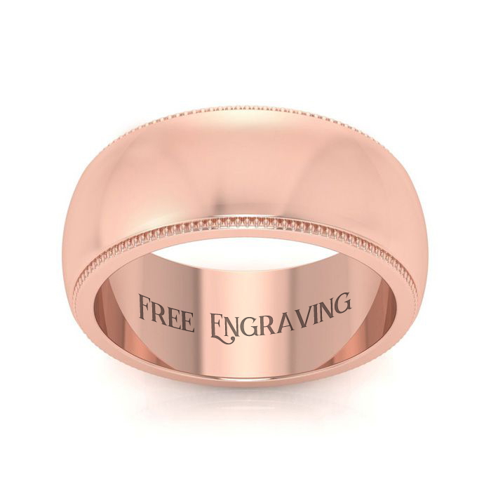 18K Rose Gold (10.6 g) 8MM Milgrain Ladies & Mens Wedding Band, S