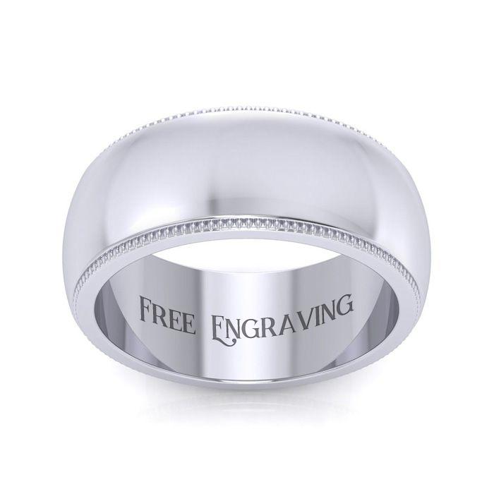 Platinum 8MM Milgrain Ladies & Mens Wedding Band, Size 13, Free E