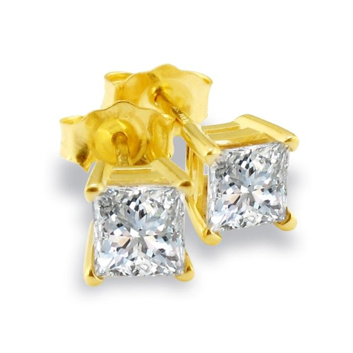 3/4 Carat Fine Quality Princess Cut Diamond Stud Earrings in Yell