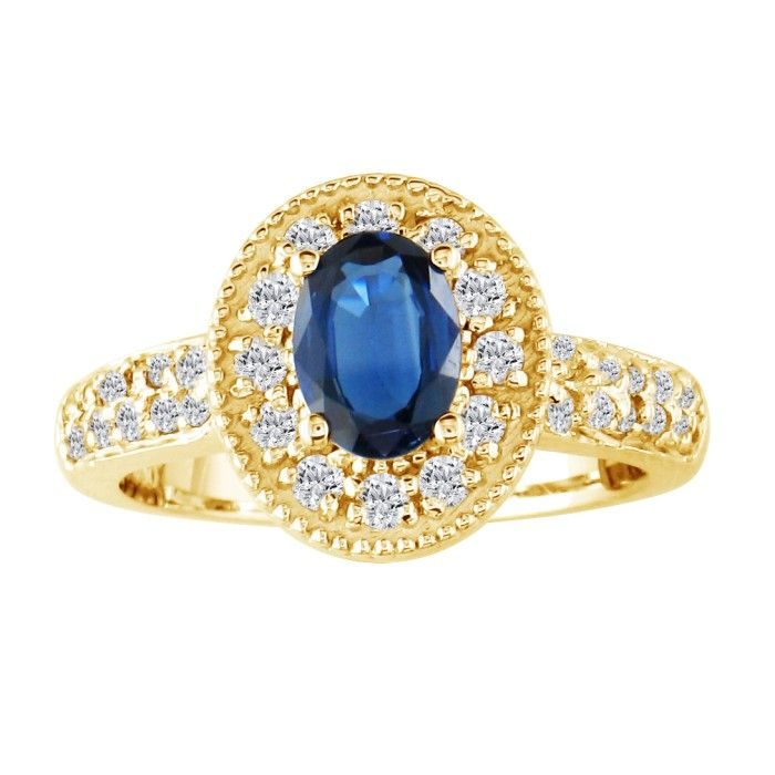 Glamorous 1 2/5ct Sapphire and Diamond Ring in 14K Yellow Gold ShopFest Money Saver