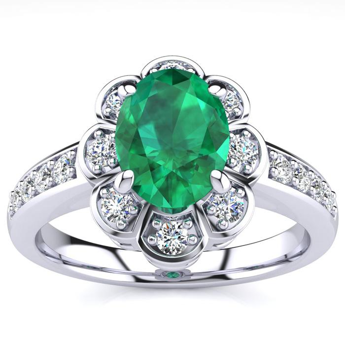 Luminous 1 1/10 Carat Emerald Cut & Diamond Ring in 14K White Gold, G/H by SuperJeweler