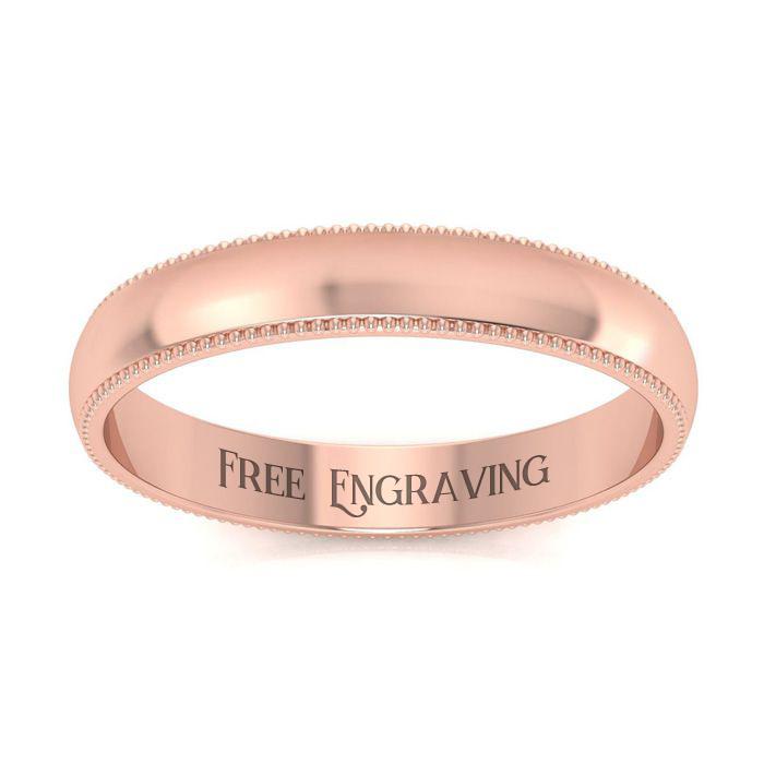 14K Rose Gold (5.5 g) 3MM Heavy Comfort Fit Milgrain Ladies & Mens Wedding Band, Size 16, Free Engraving by SuperJeweler