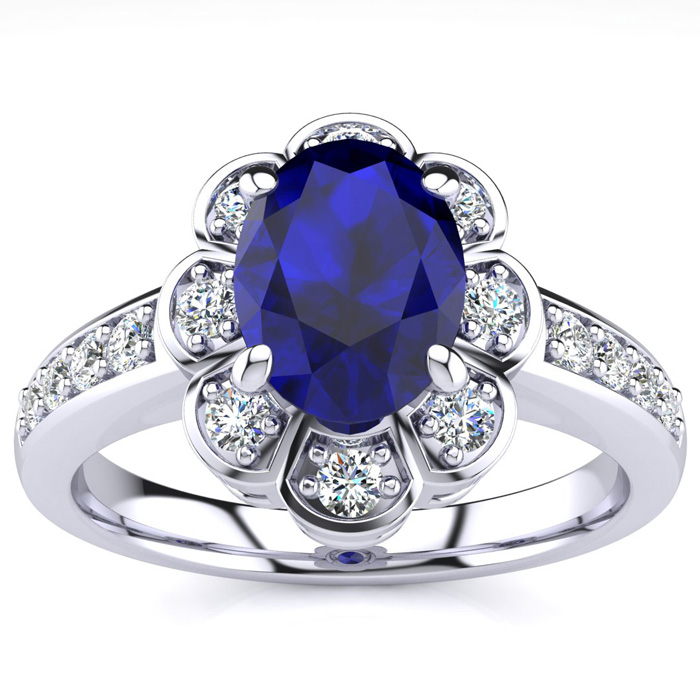 Luminous 1.25 Carat Sapphire Diamond Ring in 14K White Gold, G/H