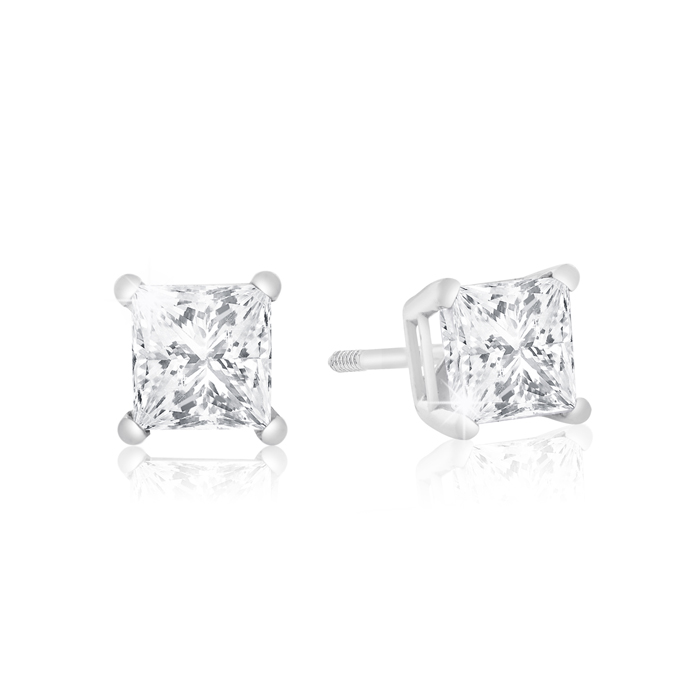 1 Carat Princess Cut Diamond Stud Earrings in 14k White Gold (1 g