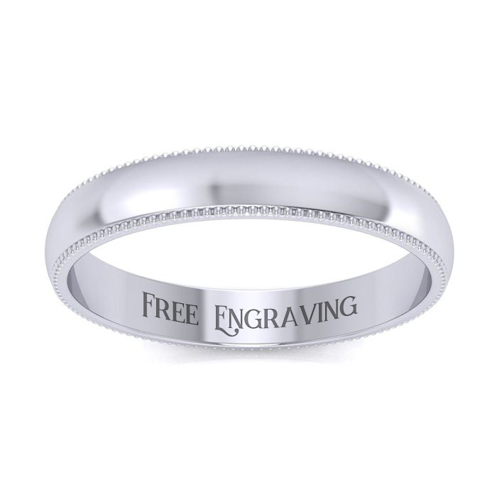 18K White Gold (5.9 g) 3MM Heavy Comfort Fit Milgrain Ladies & Mens Wedding Band, Size 14, Free Engraving by SuperJeweler