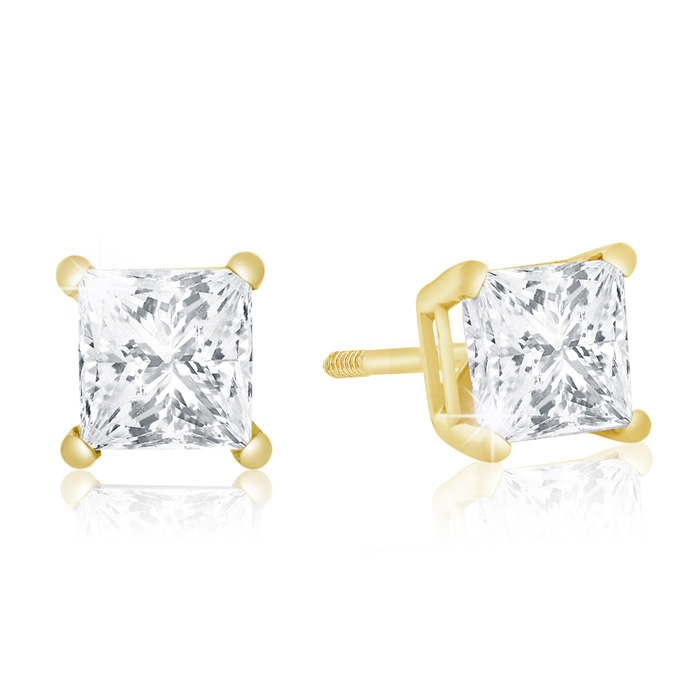 1 Carat Princess Cut Diamond Stud Earrings in 14k Yellow Gold (1