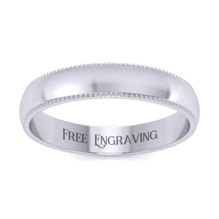 10K White Gold (6 g) 4MM Heavy Comfort Fit Milgrain Ladies & Mens Wedding Band, Size 14, Free Engraving by SuperJeweler