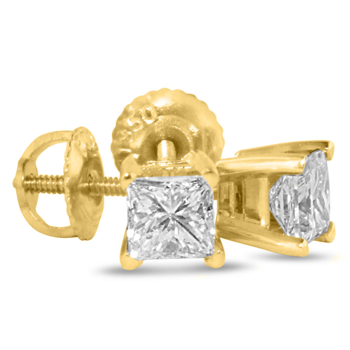 1.25 Carat Fine Princess Cut Diamond Stud Earrings in 14k Yellow