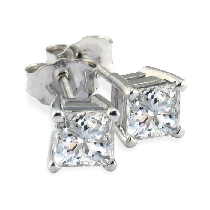 1.5 Carat Princess Cut Diamond Stud Earrings, 14k White Gold, H/I