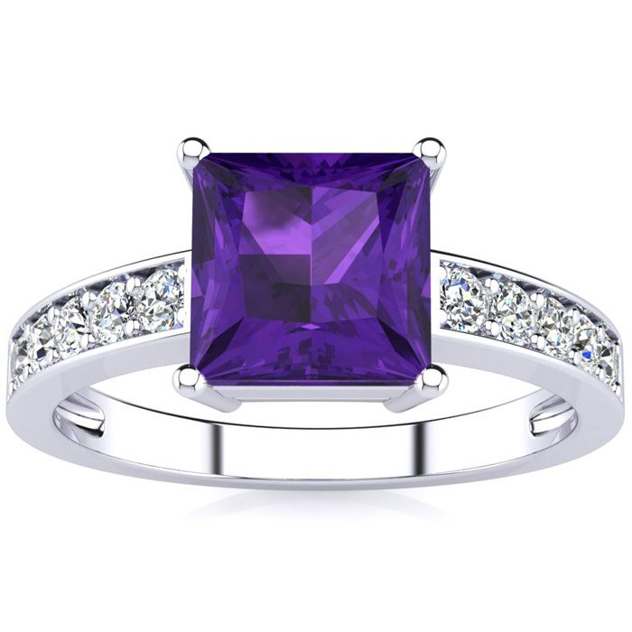 Square Step Cut 1 2/3 Carat Amethyst & Diamond Ring in 14K White Gold (3.40 g), I/J by SuperJeweler