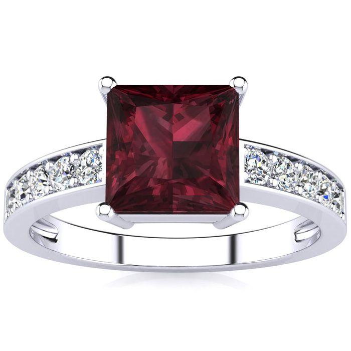 Square Step Cut 1 2/3 Carat Garnet & Diamond Ring in 14K White Go