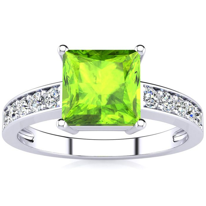 Square Step Cut 1.5 Carat Peridot & Diamond Ring in 14K White Gol