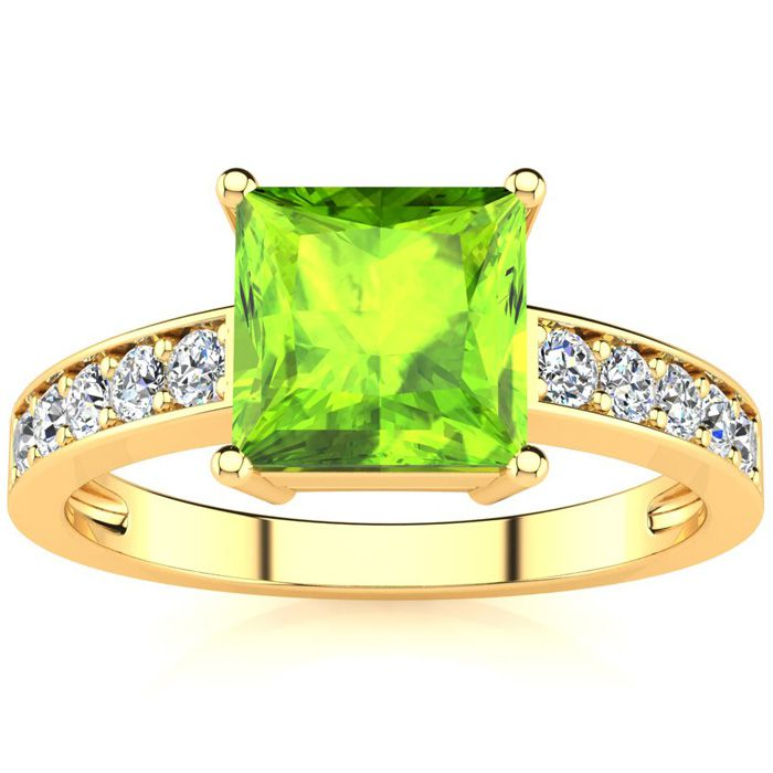 Square Step Cut 1.5 Carat Peridot & Diamond Ring in 14K Yellow Gold (3.40 g), I/J by SuperJeweler