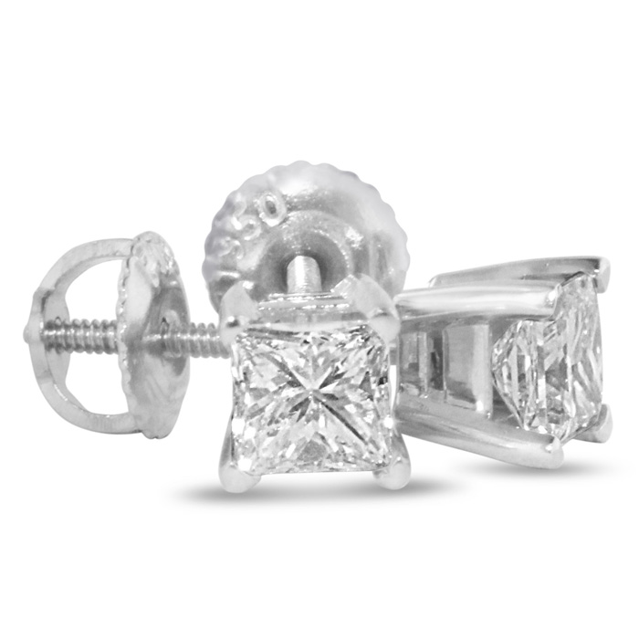 2 Carat Princess Cut Diamond Stud Earrings, 14k White Gold, I-J,