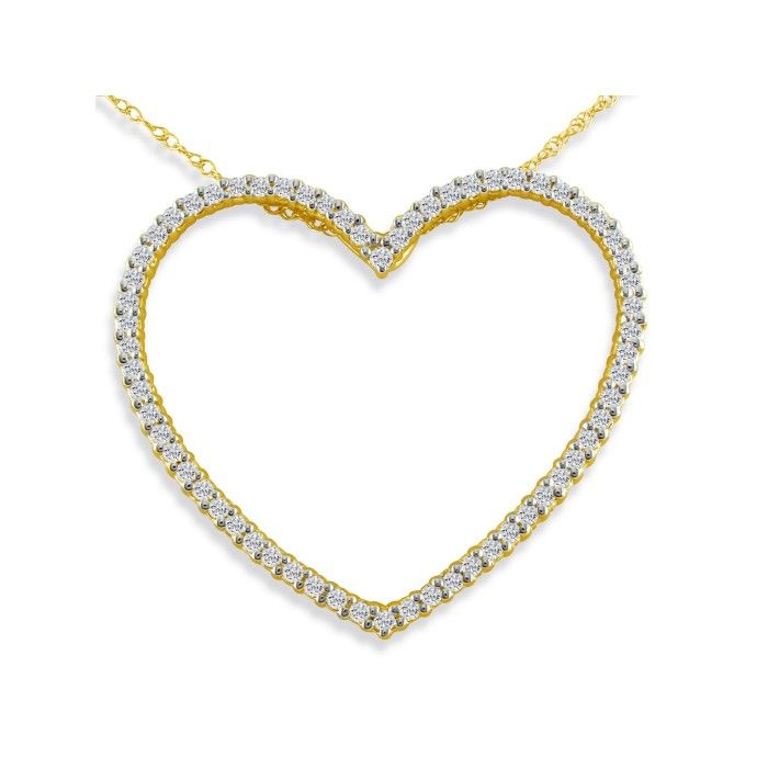 Sparkly and Sweet 1/2 Carat Diamond Heart Pendant Necklace in 14k Yellow Gold, G/H Color, 18 Inch Chain by SuperJeweler