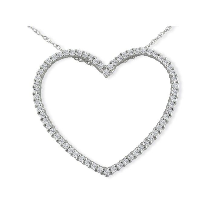 1 Carat Heart Shaped Diamond Pendant Necklace in 14k White Gold, G/H, 18 Inch Chain by SuperJeweler