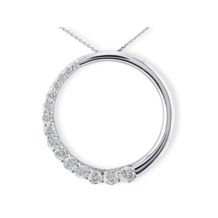 Sparkly 3/4 Carat Circle Style Journey Diamond Pendant Necklace i