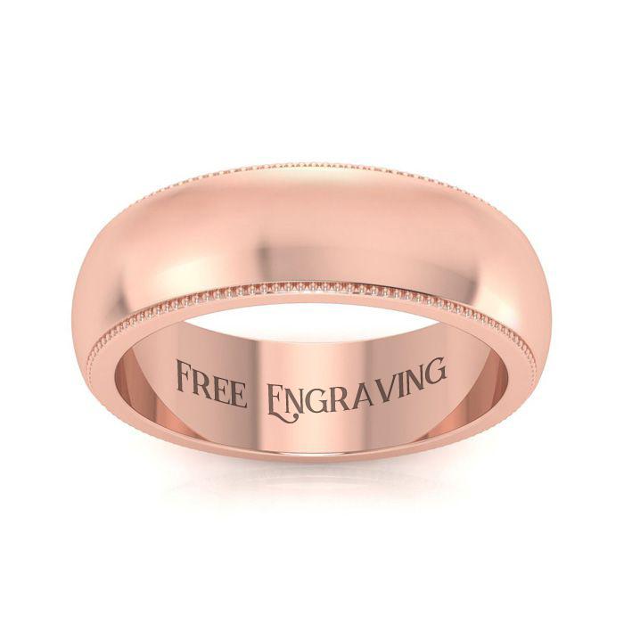 14K Rose Gold (7.2 g) 6MM Heavy Comfort Fit Milgrain Ladies & Mens Wedding Band, Size 4.5, Free Engraving by SuperJeweler