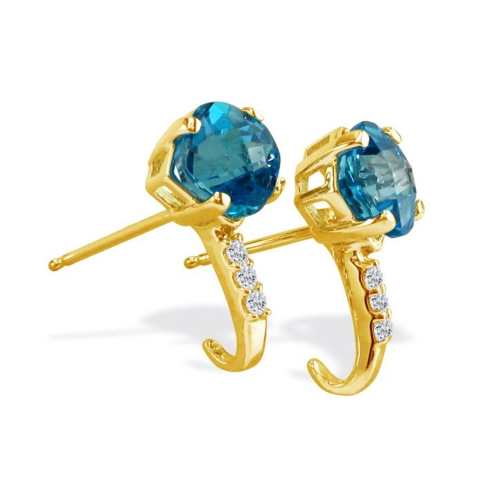 2 Carat Square Cut Blue Topaz & Diamond Earrings in 14k Yellow Go