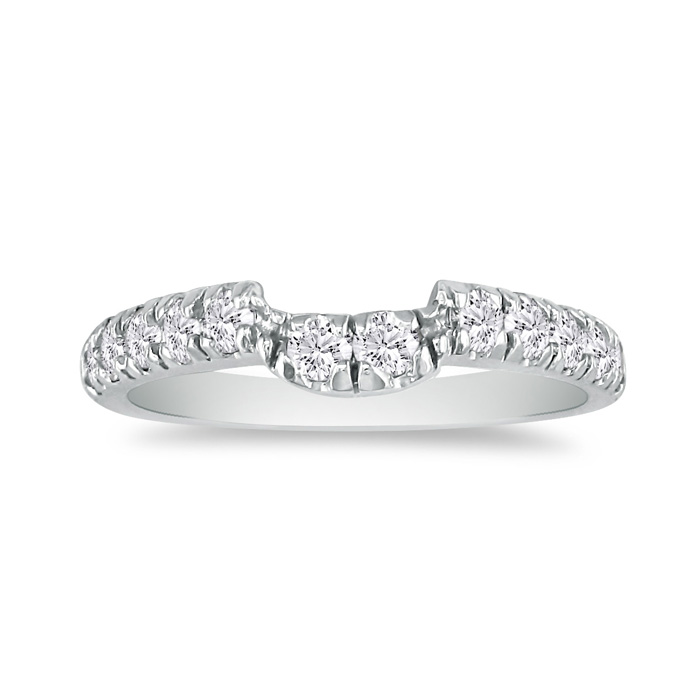Sleek & Sparkly 3/5 Carat Diamond Wedding Band in 14k White Gold,