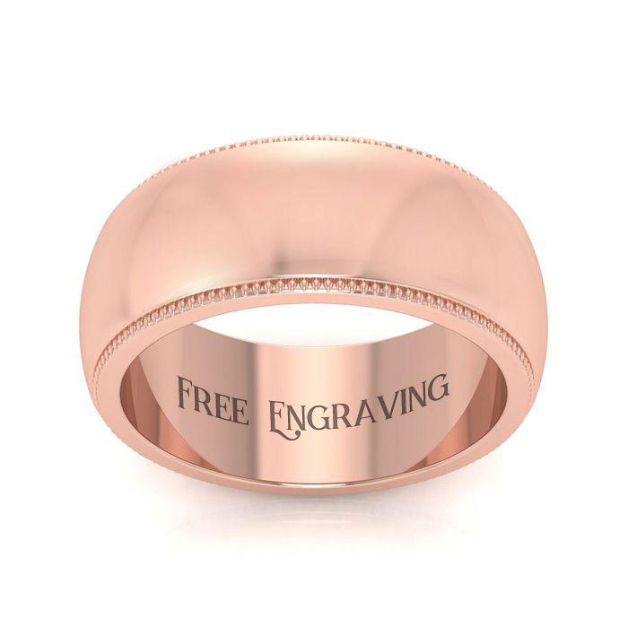 10K Rose Gold (7.6 g) 8MM Heavy Comfort Fit Milgrain Ladies & Mens Wedding Band, Size 4.5, Free Engraving by SuperJeweler