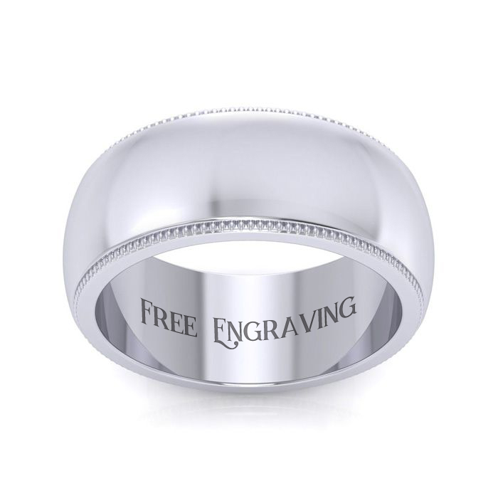 14K White Gold (12.1 g) 8MM Heavy Comfort Fit Milgrain Ladies & Mens Wedding Band, Size 13, Free Engraving by SuperJeweler