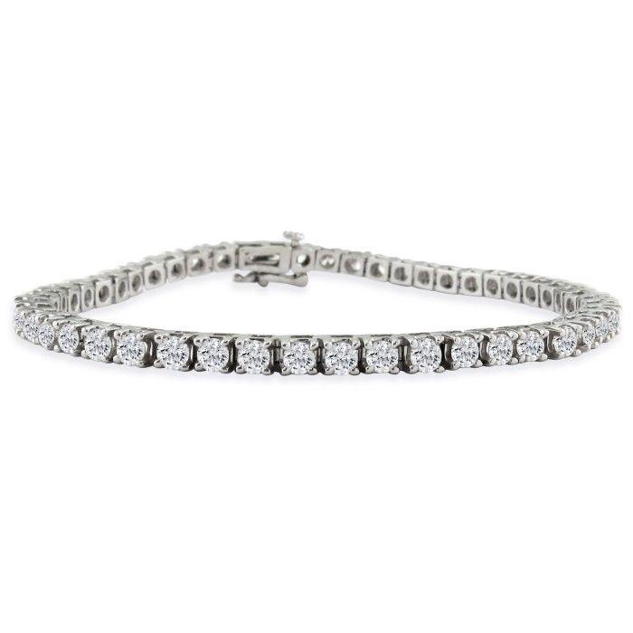 7 Inch 14k White Gold 5 Carat Diamond Tennis Bracelet Item Number Jwl 407
