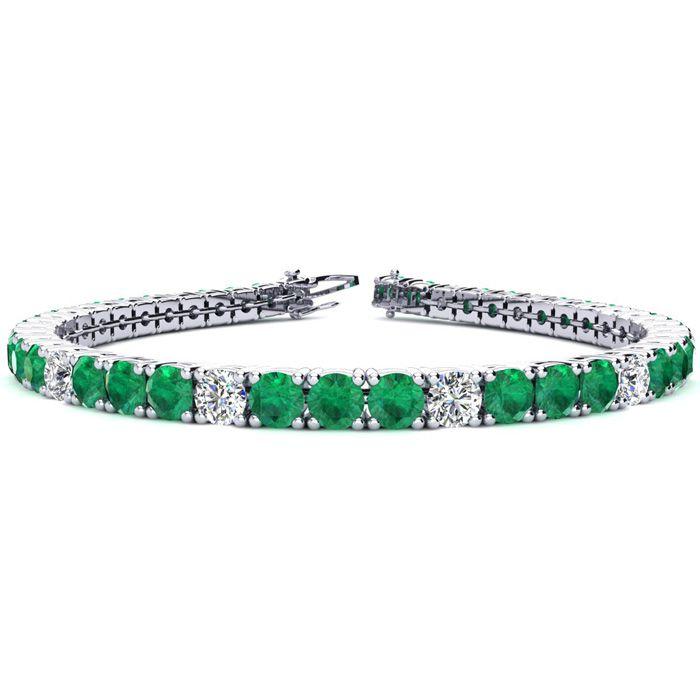 8 Inch 12 1/2 Carat Emerald And Diamond Alternating Tennis Bracelet In 14k White Gold