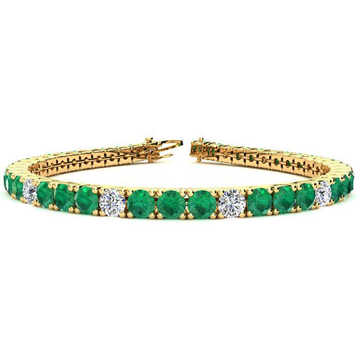 8 Inch 12 1/2 Carat Emerald And Diamond Alternating Tennis Bracelet In 14k Yellow Gold