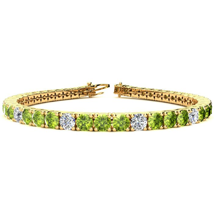 9 Inch 11 3/4 Carat Peridot and Diamond Alternating Tennis Bracelet In 14K Yellow Gold