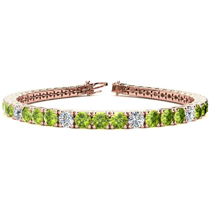 11 1/5 Carat Peridot & Diamond Alternating Tennis Bracelet in 14K Rose Gold (14.6 g)