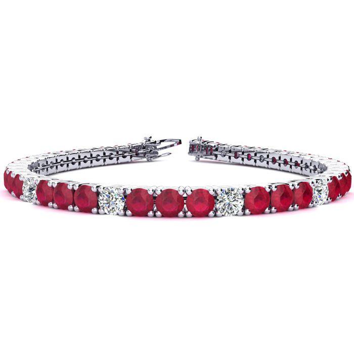 7.5 Inch 12 1/3 Carat Ruby And Diamond Alternating Tennis Bracelet In 14k White Gold