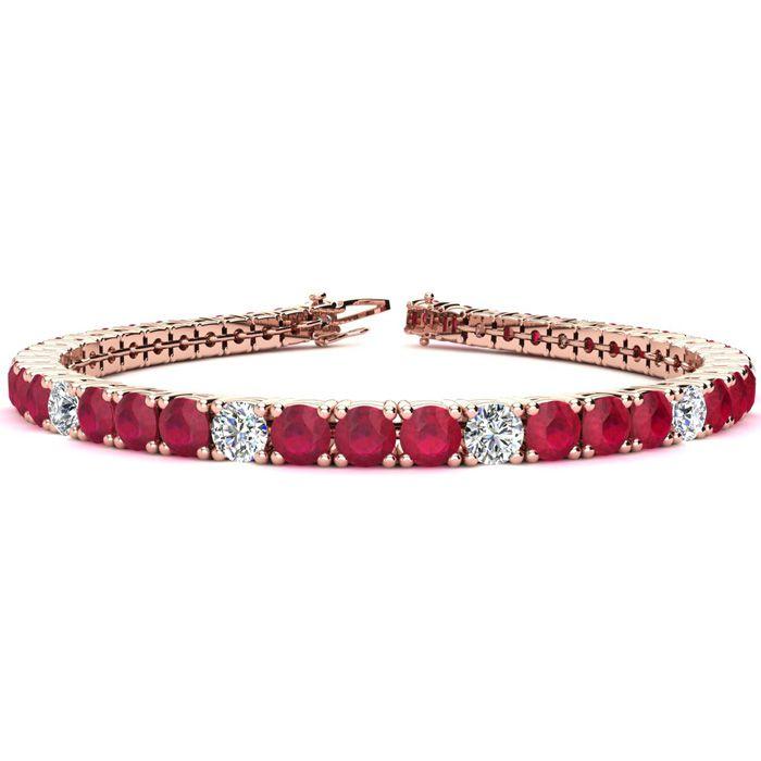 11 Carat Ruby & Diamond Alternating Tennis Bracelet in 14K Rose Gold (11.1 g)