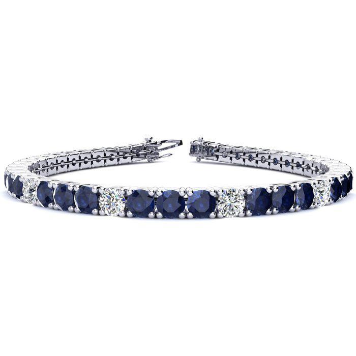 7.5 Inch 12 3/4 Carat Sapphire And Diamond Alternating Tennis Bracelet In 14k White Gold