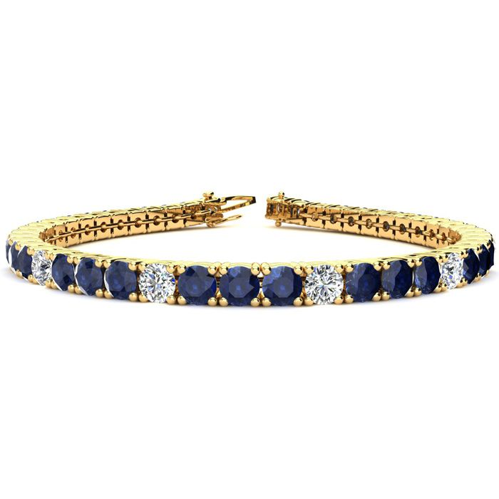 7.5 Inch 12 3/4 Carat Sapphire & Diamond Alternating Tennis Bracelet in 14K Yellow Gold (12.9 g),  by SuperJeweler