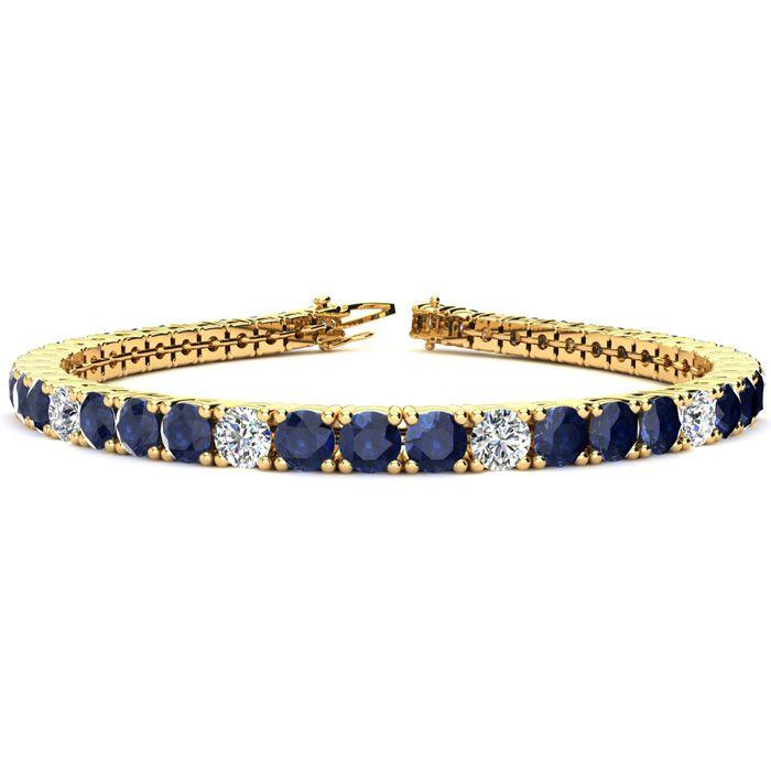 7.5 Inch 12 3/4 Carat Sapphire And Diamond Alternating Tennis Bracelet In 14k Yellow Gold