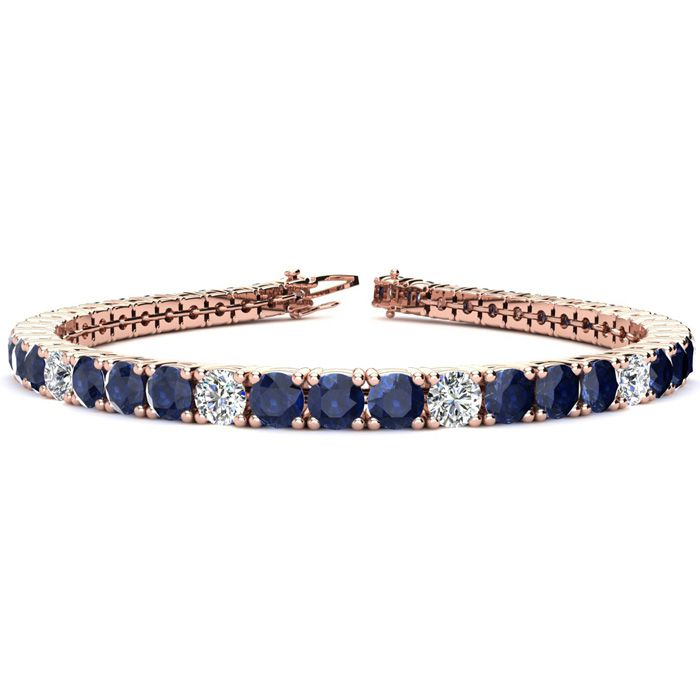 7 Inch 12 Carat Sapphire And Diamond Alternating Tennis Bracelet In 14k Rose Gold