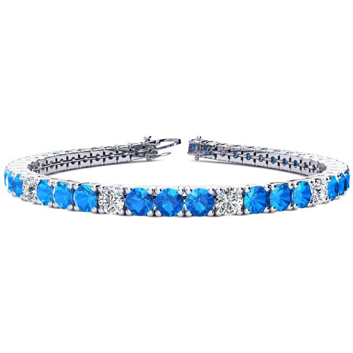 8 Inch 12 1/2 Carat Blue Topaz and Diamond Alternating Tennis Bracelet In 14K White Gold