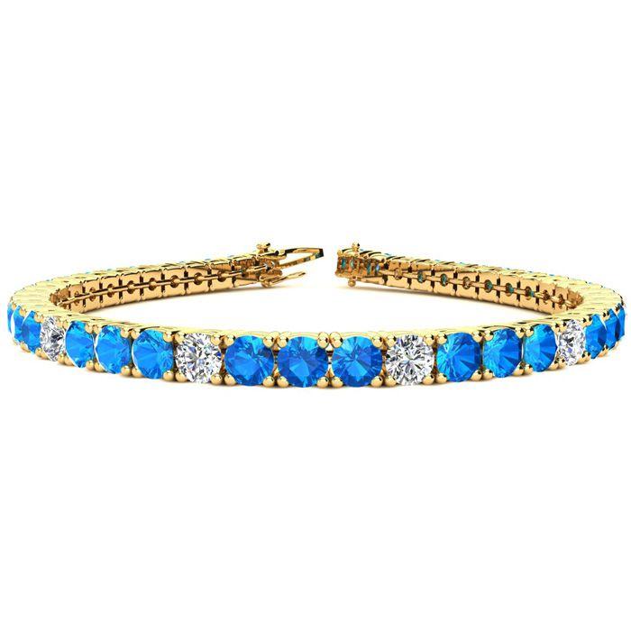 11 2/3 Carat Blue Topaz & Diamond Alternating Tennis Bracelet in 14K Yellow Gold (12.9 g)
