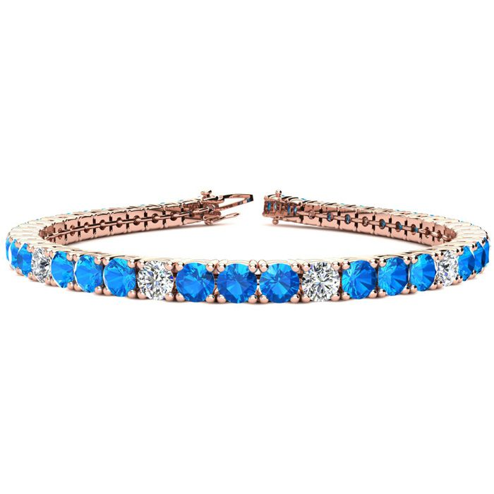 12.5 Carat Blue Topaz & Diamond Alternating Tennis Bracelet in 14K Rose Gold (13.7 g)