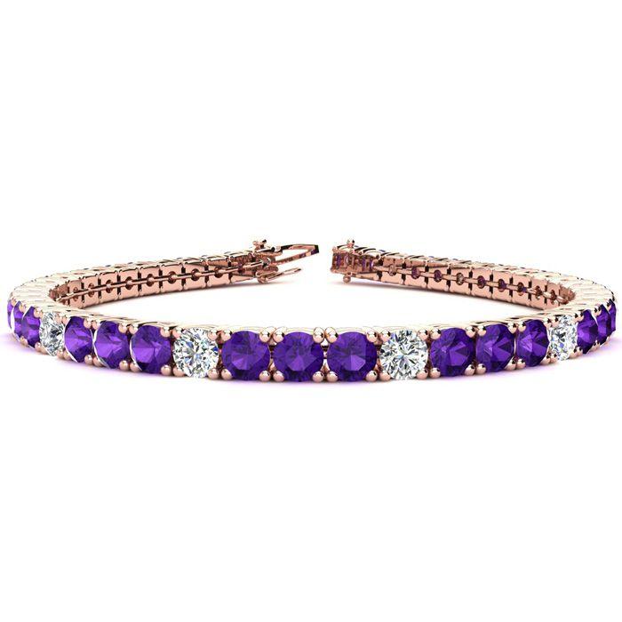 9 3/4 Carat Amethyst & Diamond Alternating Tennis Bracelet in 14K Rose Gold (12.9 g)